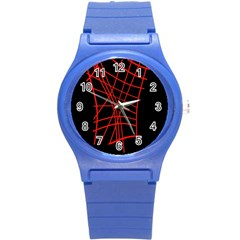 Neon Red Abstraction Round Plastic Sport Watch (s) by Valentinaart