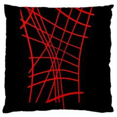 Neon Red Abstraction Large Cushion Case (one Side) by Valentinaart