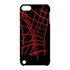 Neon Red Abstraction Apple Ipod Touch 5 Hardshell Case With Stand
