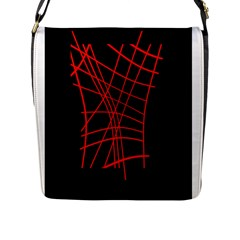 Neon Red Abstraction Flap Messenger Bag (l)  by Valentinaart