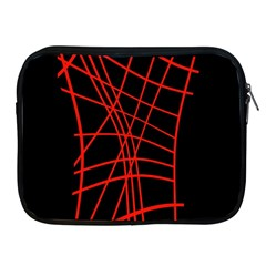 Neon Red Abstraction Apple Ipad 2/3/4 Zipper Cases