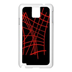 Neon Red Abstraction Samsung Galaxy Note 3 N9005 Case (white) by Valentinaart