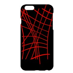 Neon Red Abstraction Apple Iphone 6 Plus/6s Plus Hardshell Case by Valentinaart