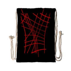 Neon Red Abstraction Drawstring Bag (small) by Valentinaart