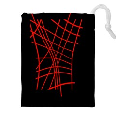 Neon Red Abstraction Drawstring Pouches (xxl) by Valentinaart