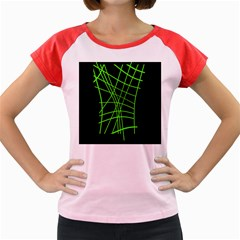 Green Neon Abstraction Women s Cap Sleeve T Shirt by Valentinaart