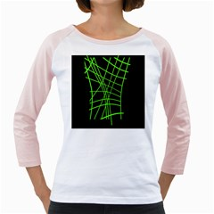 Green Neon Abstraction Girly Raglans by Valentinaart
