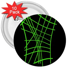 Green Neon Abstraction 3  Buttons (10 Pack)  by Valentinaart