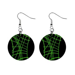 Green Neon Abstraction Mini Button Earrings by Valentinaart