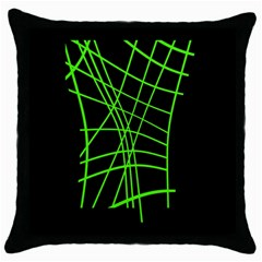 Green Neon Abstraction Throw Pillow Case (black) by Valentinaart