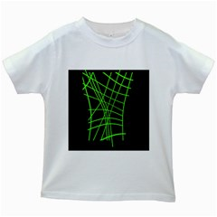Green Neon Abstraction Kids White T Shirts by Valentinaart