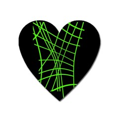 Green Neon Abstraction Heart Magnet by Valentinaart