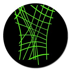 Green Neon Abstraction Magnet 5  (round) by Valentinaart