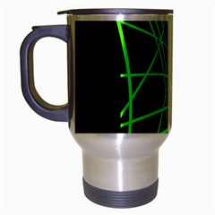 Green Neon Abstraction Travel Mug (silver Gray) by Valentinaart