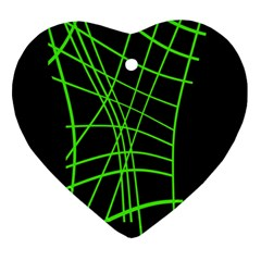 Green Neon Abstraction Heart Ornament (2 Sides) by Valentinaart