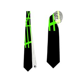 Green Neon Abstraction Neckties (two Side)  by Valentinaart
