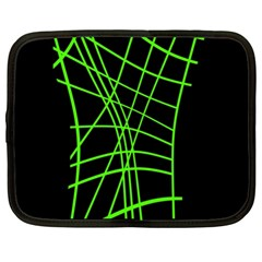 Green Neon Abstraction Netbook Case (xl)  by Valentinaart