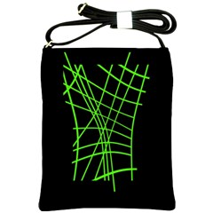 Green Neon Abstraction Shoulder Sling Bags by Valentinaart