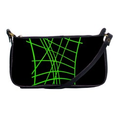 Green Neon Abstraction Shoulder Clutch Bags by Valentinaart