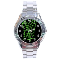 Green Neon Abstraction Stainless Steel Analogue Watch by Valentinaart
