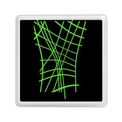 Green Neon Abstraction Memory Card Reader (square)  by Valentinaart