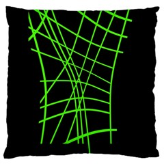 Green Neon Abstraction Large Cushion Case (one Side) by Valentinaart