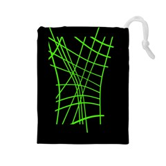 Green Neon Abstraction Drawstring Pouches (large)  by Valentinaart