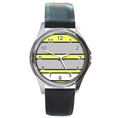 Yellow And Gray Lines Round Metal Watch by Valentinaart