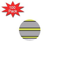 Yellow And Gray Lines 1  Mini Buttons (100 Pack)  by Valentinaart