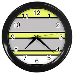 Yellow And Gray Lines Wall Clocks (black) by Valentinaart