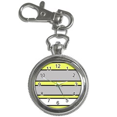 Yellow And Gray Lines Key Chain Watches by Valentinaart