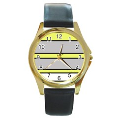 Yellow And Gray Lines Round Gold Metal Watch by Valentinaart