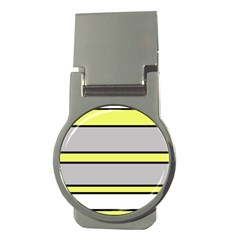Yellow And Gray Lines Money Clips (round)  by Valentinaart