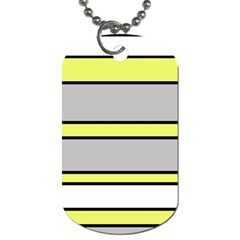 Yellow And Gray Lines Dog Tag (one Side) by Valentinaart