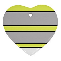 Yellow And Gray Lines Heart Ornament (2 Sides) by Valentinaart