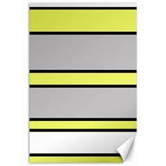 Yellow And Gray Lines Canvas 24  X 36  by Valentinaart