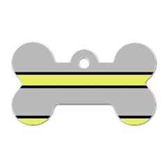Yellow And Gray Lines Dog Tag Bone (two Sides) by Valentinaart