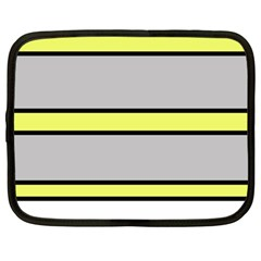 Yellow And Gray Lines Netbook Case (large) by Valentinaart