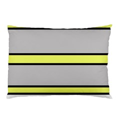 Yellow And Gray Lines Pillow Case by Valentinaart