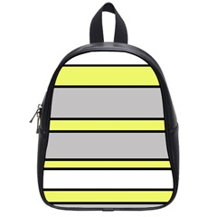 Yellow And Gray Lines School Bags (small)  by Valentinaart