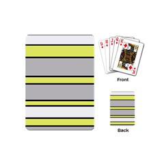 Yellow And Gray Lines Playing Cards (mini)  by Valentinaart