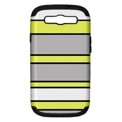 Yellow And Gray Lines Samsung Galaxy S Iii Hardshell Case (pc+silicone) by Valentinaart