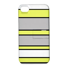 Yellow And Gray Lines Apple Iphone 4/4s Hardshell Case With Stand