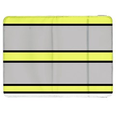 Yellow And Gray Lines Samsung Galaxy Tab 7  P1000 Flip Case by Valentinaart