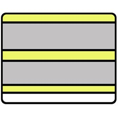 Yellow And Gray Lines Double Sided Fleece Blanket (medium)  by Valentinaart