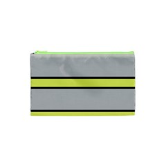 Yellow And Gray Lines Cosmetic Bag (xs) by Valentinaart