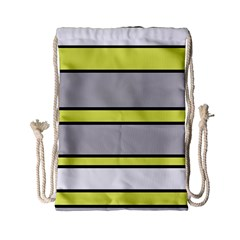 Yellow And Gray Lines Drawstring Bag (small) by Valentinaart