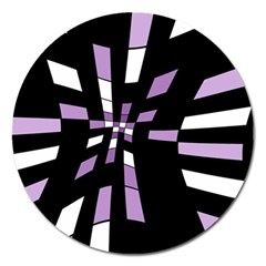 Purple Abstraction Magnet 5  (round) by Valentinaart