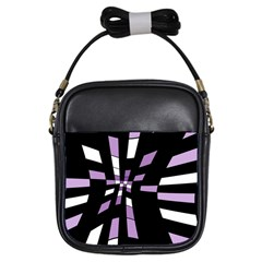 Purple Abstraction Girls Sling Bags by Valentinaart
