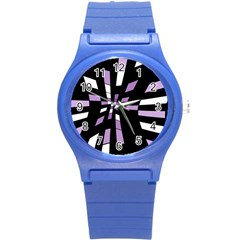 Purple Abstraction Round Plastic Sport Watch (s) by Valentinaart